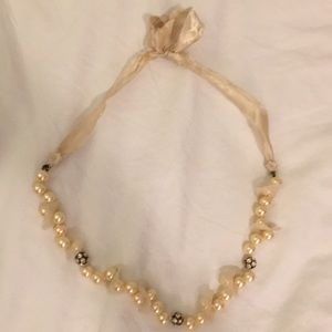 J. Crew Silk-Tie Pearl Necklace w/ Accent Beads
